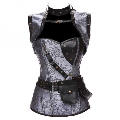 Gothic Steel Boned Corset Steampunk Brocade Corset With Pocket