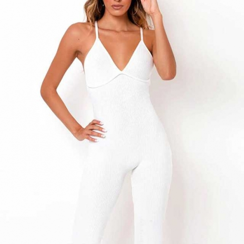 Ribbed Backless Sporty Jumpsuit