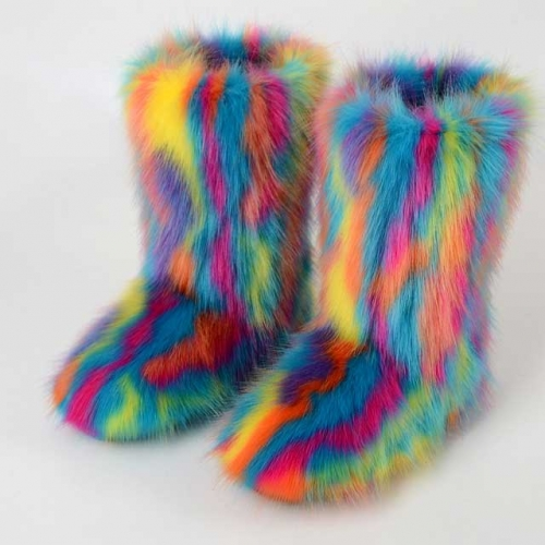 Colorful Fur Boots