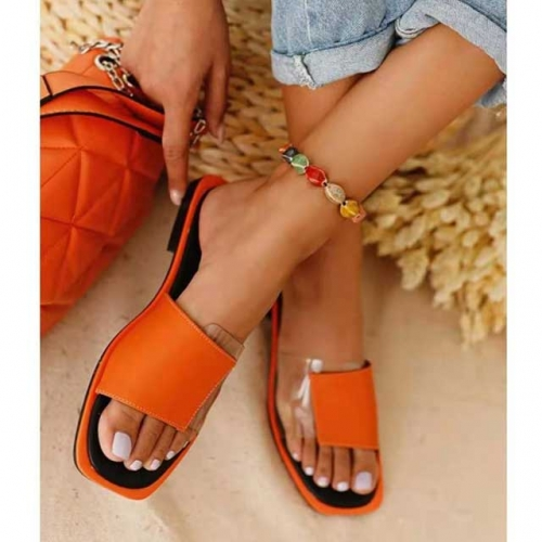 Slip On Entry Leather Flat Sandals