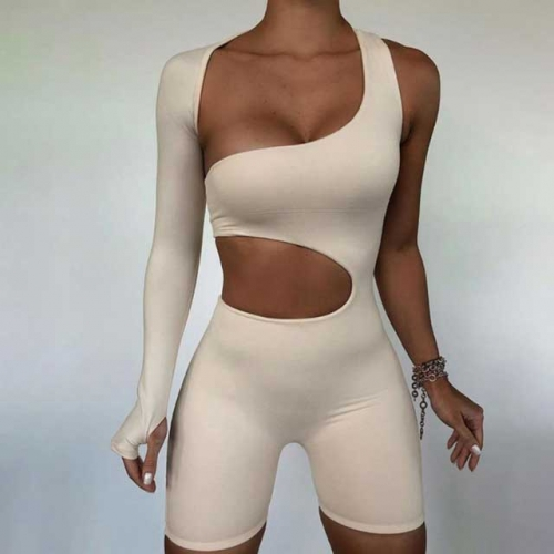 Hollow Out Single Sleeve Fitness Romper