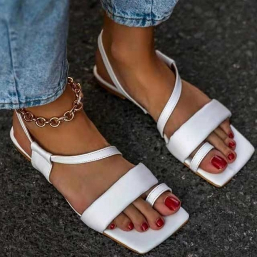 Sexy Leather Flat Sandals