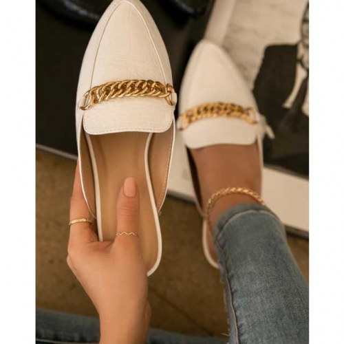 Gold Chain Leather Flat Shoes